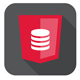 vector illustration red shield with database symbol, isolated web site development icon