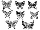 Set of eight black butterflies