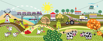 countryside life children illustration