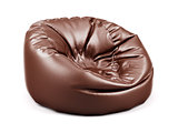 Brown soft leather beanbag isolated