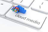 Software cloud media concept. Colorful icons box with blue stora