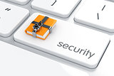 Combination padlock with yellow computer folder on the computer