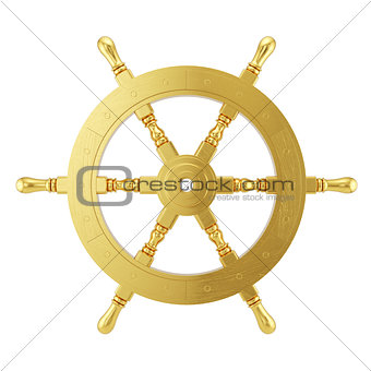 3d golden ships wheel rendering