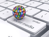 Software and social media concept. Icons sphere on the computer