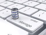 Storage database icon on the keyboard. Big database storage conc