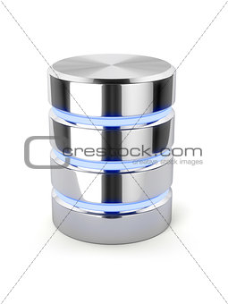 Chrome hard disk drive, metal data storage, light stripes databa
