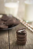 chocolate cookies with cream and milk