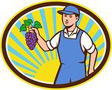 Organic Farmer Boy Holding Grapes Oval Retro