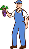 Organic Farmer Boy Grapes Standing Retro