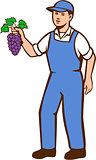 Organic Farmer Boy Grapes Standing Retro