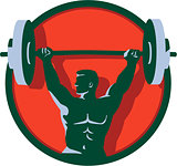 Weightlifter Lifting Barbell Circle Retro