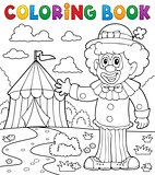 Coloring book clown near circus theme 1