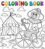 Coloring book clown near circus theme 3