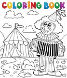 Coloring book clown near circus theme 4