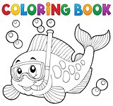 Coloring book fish snorkel diver
