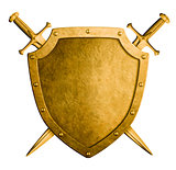 gold medieval coat of arms shield and two swords isolated