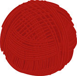 Wool red yarn ball isolated on white