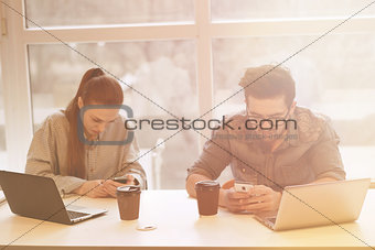 Freelance man and woman