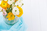 Bouquet of yellow and white ranunculus