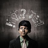 Thinking Process. Genius Little Boy Wearing Glasses, Thinking Ne