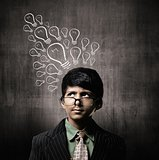 Genius Little Boy Wearing Glasses, Thinking Ideas Bulb