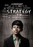 Strategy. Genius Little Boy Wearing Glasses, Thinking Near Chalk
