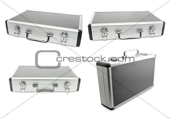 four metallic suitcase isolated on white background.