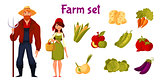 Farmers and set of vegetables