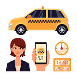 Icon set with the service taxi dispatcher and transport people in car
