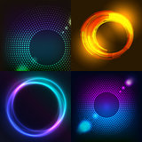 Huge set of glowing rounds with glitter. Abstract colored shape for your business idea. Vector editable logo background illustration.