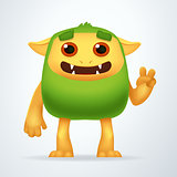 Cute Cartoon Green beast with victory gesture. Fun Fluffy impossible creature isolated on white background.