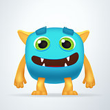 Cute colorful blue Ogre with silly smile and friendly eyes. Fun yeti creature isolated on white background.