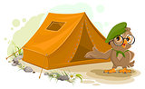 Summer holiday camp. Scout owl standing near tent. Owl bird tourist tent set. Camping