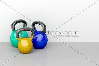 Three kettlebells