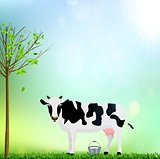 Cow And A Bucket Of Milk Funny Flat Vector Illustration