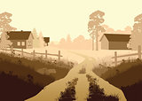 Vector illustration of a beautiful village