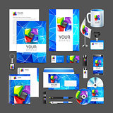 set corporate identity business including color abstract logo