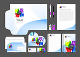 set of corporate identity business including color abstract logo