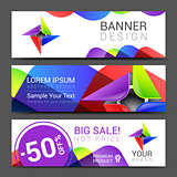 set of horizontal banners with abstract full color logo
