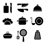 Black minimal kitchen cookware icon set