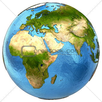 African and European continents on Earth