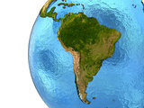 South American continent on Earth