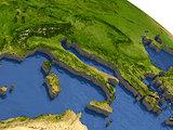 Italy on model Earth