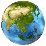 Asian continent on Earth