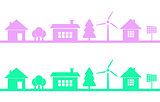 Horizontaly seamless pattern of homes and buildings. Town or city with green technologies implemented such as wind energy and solar energy of sun. Save the earth and trees ecology.