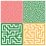Set of colorful mazes/ Good for logo or icon, Vector background illustration.