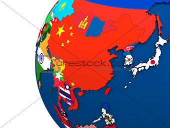 Political east Asia map