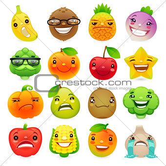 Funny Cartoon Fruits and Vegetables with Different Emotions Set2
