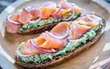 Toasts with avocado and smoked salmon