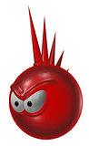 evil red punk smiley - 3d illustration
